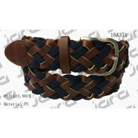 Tan PU With Navy Webbing Tape Womens Braided Belt With Gold Satine Buckle