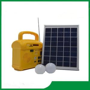 China 10w mini portable solar lighting kits, solar panel system with FM radio for camping on sale