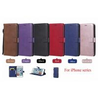 iPhone Pure Color Leather Wallet Protective Case with Card Slots
