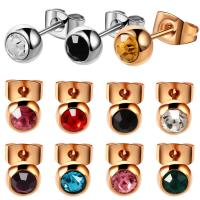 316l Surgical Steel Crystal Gem Assorted Colors Ear Stud Piercing Simple Style Screw-Back Earrings Sexy Girls Jewelry