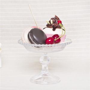 China Pedestal dessert plate glass cake dish cupcke stand clear ball rim decorative dessert cake dish on sale