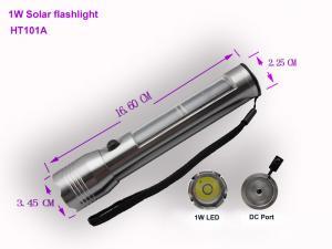 China 1W High power aluminum alloy solar powered led flashlight with USB input charging port on sale