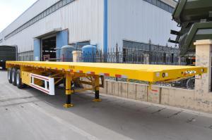 China Heavy Duty Tri Axle Dump Truck , 50 Ton Flatbed Semi Truck Trailer For Container on sale