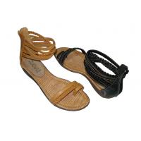 Wholesale Fashion Comfortable PU Camle / Black Ladies Flat Sandals for Spring / Summer