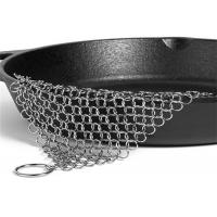 China 6'' X 8'' Stainless Steel Chainmail Scrubber , Cast Iron Pan Cleaner on sale