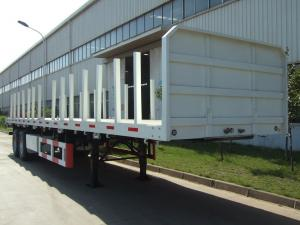 China 40 feet,3 axles,leaf spring suspension,twin tires,Log holder Carbon Steel Flat Bed Container Semi-Trailer  9453TJZPL on sale