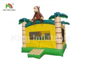 China Palm Tree Yellow Inflatable Kids Jumping Castle With Step And Mesh on sale