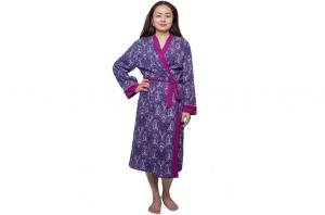 China Purple Single Jersey Womens Summer Nightwear Cotton Long Night Robe With Solid Binding on sale