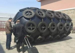 China Large Inflatable Boat Fenders , Pneumatic Rubber Fender With Chain Tyre Net on sale