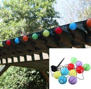 China 10 LED Solar Power White or Multi Coloured Chinese Lantern Garden String Lights - Colorful on sale