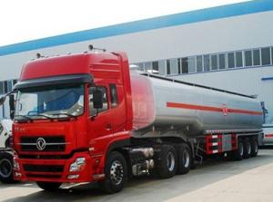 China dongfeng tuel tanker semir trailer with tractor , 45m3 fuel tanker truck on sale