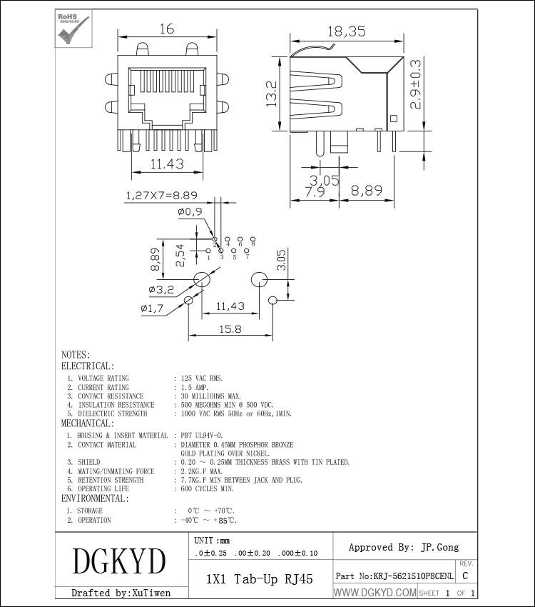 Shielded Pcb Mount Female Rj45 Keystone Jack 10p8c Connector Side