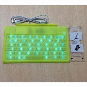 China Luminous Bluetooth Wireless Flexible Keyboard for iPad 2/3, Mini iPad, iPhone 4/5, HTC and Samsung on sale