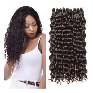 China Human Hair Brazilian Water Wave 100% Human Hair Weave Bundles Natural Hair Extensions 1B# on sale