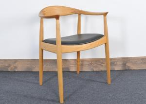 China Vintage Hans Wegner Wooden Restaurant Chair With Upholstered Leather Seat on sale