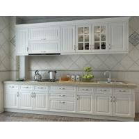 Europe Style Beadboard Kitchen Cabinets / Kitchen Wardrobe Quartz Stone Mesa