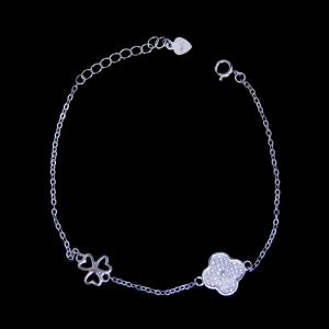 China 925 Silver Lucky Charm Bracelet Cubic With Three Leaf And Four Leaf Clover on sale