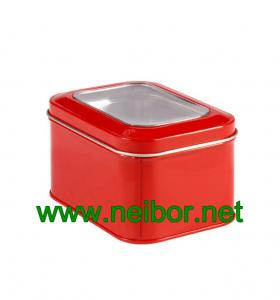 China rectangular shape gift  tin box with pvc clear window on sale