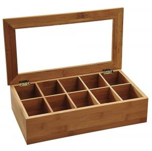 China best gift bamboo wooden tea bag compartment caddy box with acrylic lid on sale