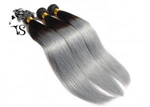 China Silky Straight Black To Silver Ombre Hair Extensions 8A Chinese Human Hair Weave on sale