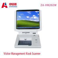 China White Desktop Visitor Management Kiosk Touch Screen Bank Hotel Payment Kiosk Scanner Wholesale ZA-VM202W on sale