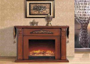 China Electric Remote Control Antique Solid Wood Fireplaces With Deco Flame on sale