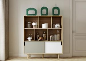 China Lacquer Matt Modern Sideboard Cabinet With Solid Wooden Legs 3 Years Warranty on sale