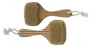 China Square Shape Head Bamboo Bristle Bath Body Brush with Short Handle on sale