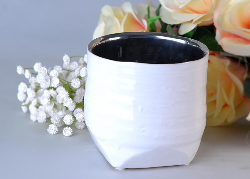 silver inside cylinder ceramic candle holder for votive and decorative