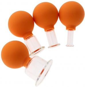 China 4 Pcs 15/25/35/55mm Vacuum Cupping Cups Pvc Head Glass Suction Body Massage Anti Cellulite Cup on sale