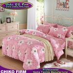 ピンクおよび花の設計綿2組の枕にせ物1の平らなシート1の羽毛布団カバー寝具セット