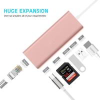 China 6 in 1 Type C to RJ45 Gigabit Ethernet LAN Network Hub with 2 USB3.0 Ports 1000M Ethernet USB C Adapter for MacBook 2017 on sale