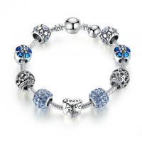 China Antique Silver Flower Crystal Ball Custom Charm Bracelets For Girls With Blue CZ Beads on sale