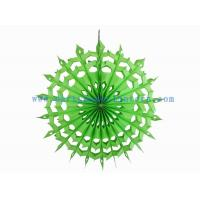 China Folded 12 Inch Lime , Yellow / Lime Hanging Paper Fans For Spring Parties Decoration on sale