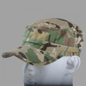 China 3D Embroidery Flat Top Army Cap Military Peaked Hat Strap Closure For Men / Women on sale