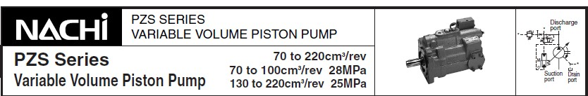 NACHI PZS-5B-130N1-10 Series Load Sensitive Variable Piston NACHI PZS-5A-180N3-10 Series Load Sensitive Variable Piston Pump