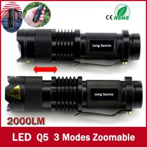 China high-quality Mini Black Brand 2000LM Waterproof LED Flashlight 3 Modes Zoomable LED Torch on sale