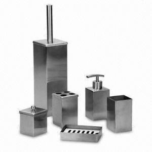 China El sistema del cuarto de baño del acero inoxidable, incluye el tenedor del cepillo de dientes, taza de cepillado, caja del jabón y el jabón dispensa on sale