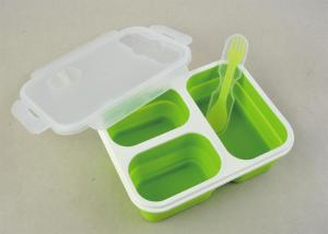 Quality Food Safety Folding Silicone Lunch Containers Three Chamber Microwaveable for sale