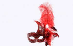 China Custom Womens Red Feather Masquerade Mask For Costume Party on sale
