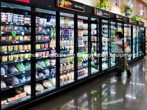 China Self Service Upright Multideck Open Chiller , Glass Fronted Fridge With Curved Glass on sale