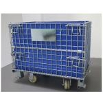 Stacking Steel Wire Mesh Container 50*50MM Blue PP Sheet With Half Drop Gate