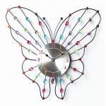 forma negra de la mariposa de los 37cm con el reloj de pared cristalino artificial colorido del cuarzo del metal con la mano de reloj negra