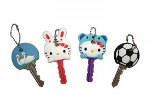 China Hello Kitty Cartoon Key Cover, Personalized Soft PVC Keychain With Ball Chain on sale