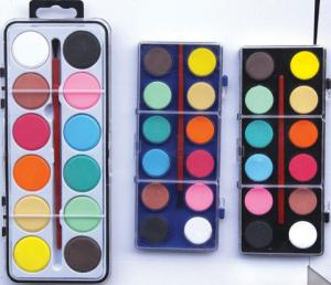 China 12 water color painters set with paint brush,Aquarela 12 colour paint set with brush on sale