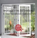 Aluminum folding door for restaurant,Wood color surface treatment aluminium profile glass folding doors for balcony door
