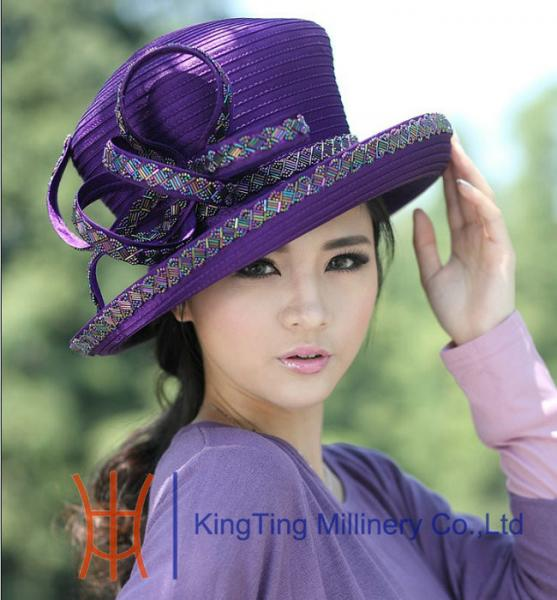 9096c839d55d4 Handmade Purple Satin Womens Church Hats with Diamond Casing for ...