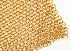 China 2MM Dia 20mm OD Golden Color Metal Ring Mesh Fabric For Hotel Metallic Curtain on sale
