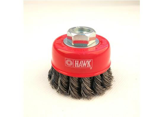 """3/"""" Cup Twisted Wire Brush Heavy-duty w// 5//8/""""-11 Thread Arbor Knotted Crimp"""