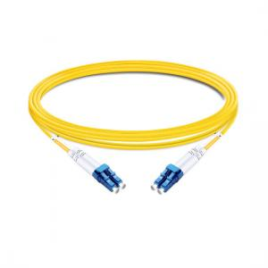 China 1m (3ft) Duplex OS2 Single Mode LC UPC to LC UPC PVC (OFNR) Fiber Optic Cable on sale